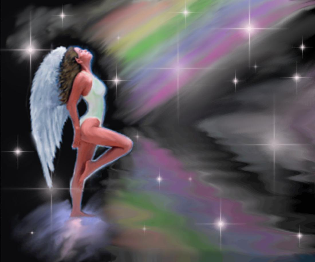 Angel With Rainbow Background Image Wallpaper Or Texture