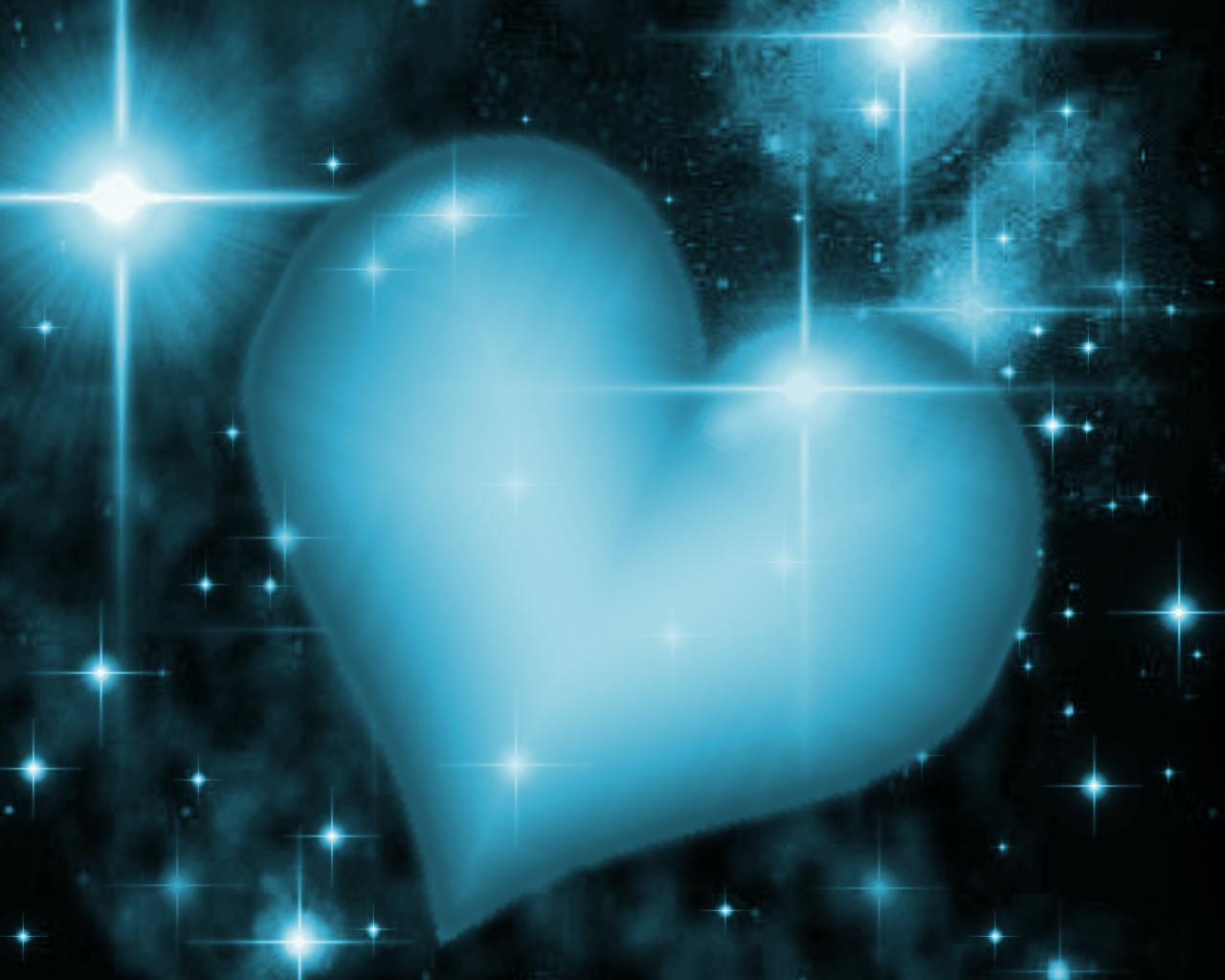 Background Wallpaper Image: Blue Heart With Starry Background