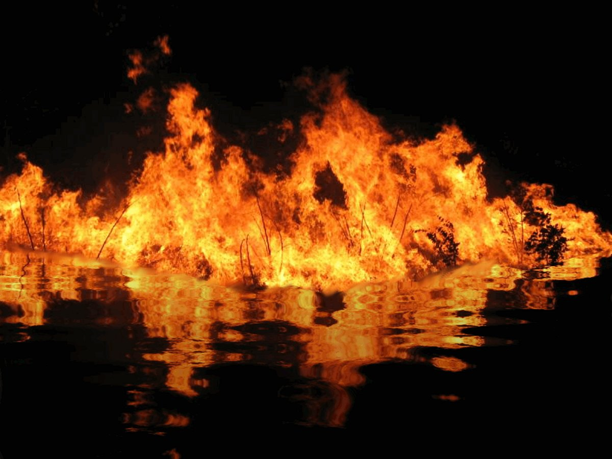 Amazing Fire On The Water. Free Background Or Wallpaper Image For Use On The Web Or  Any Phone, Laptop, Tablet Or PC
