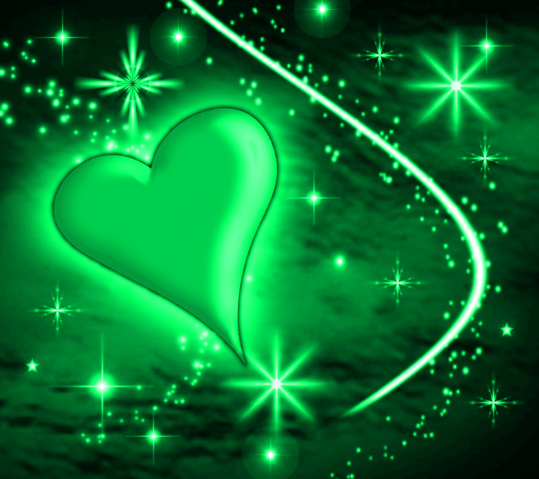 Green Heart With Plasma Stars Background 1800x1600 ...