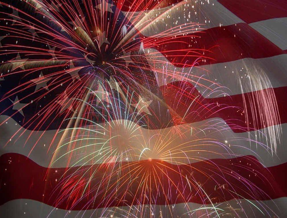 july 4 collage flag and fireworks background image
