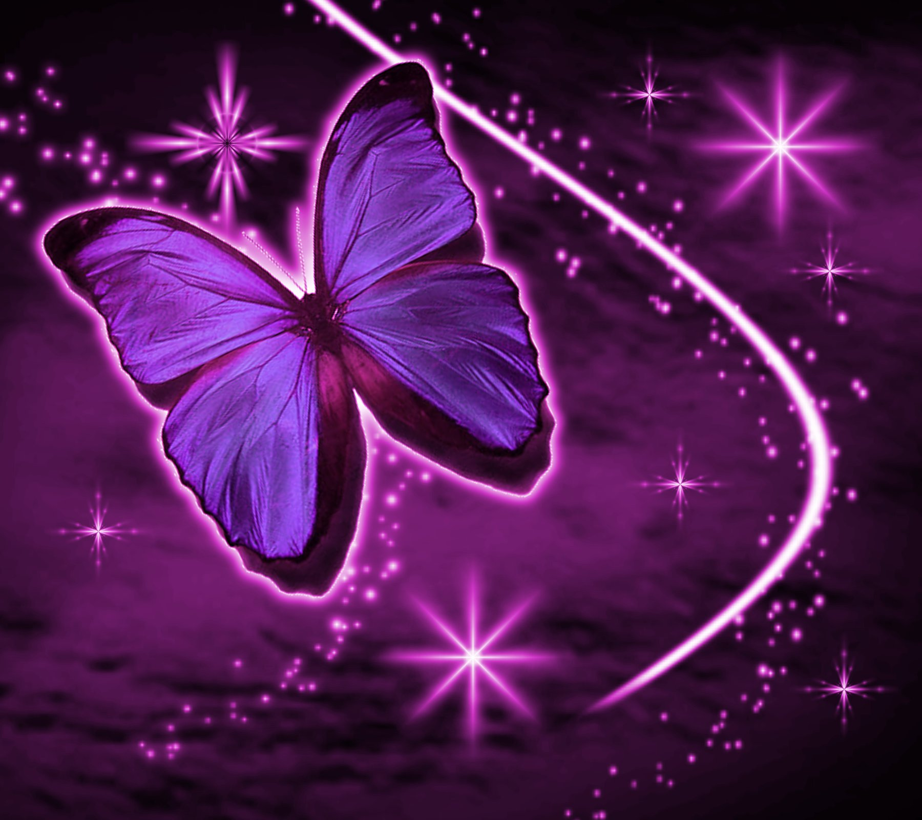 Magenta Butterfly With Stars Background 1800x1600 ...