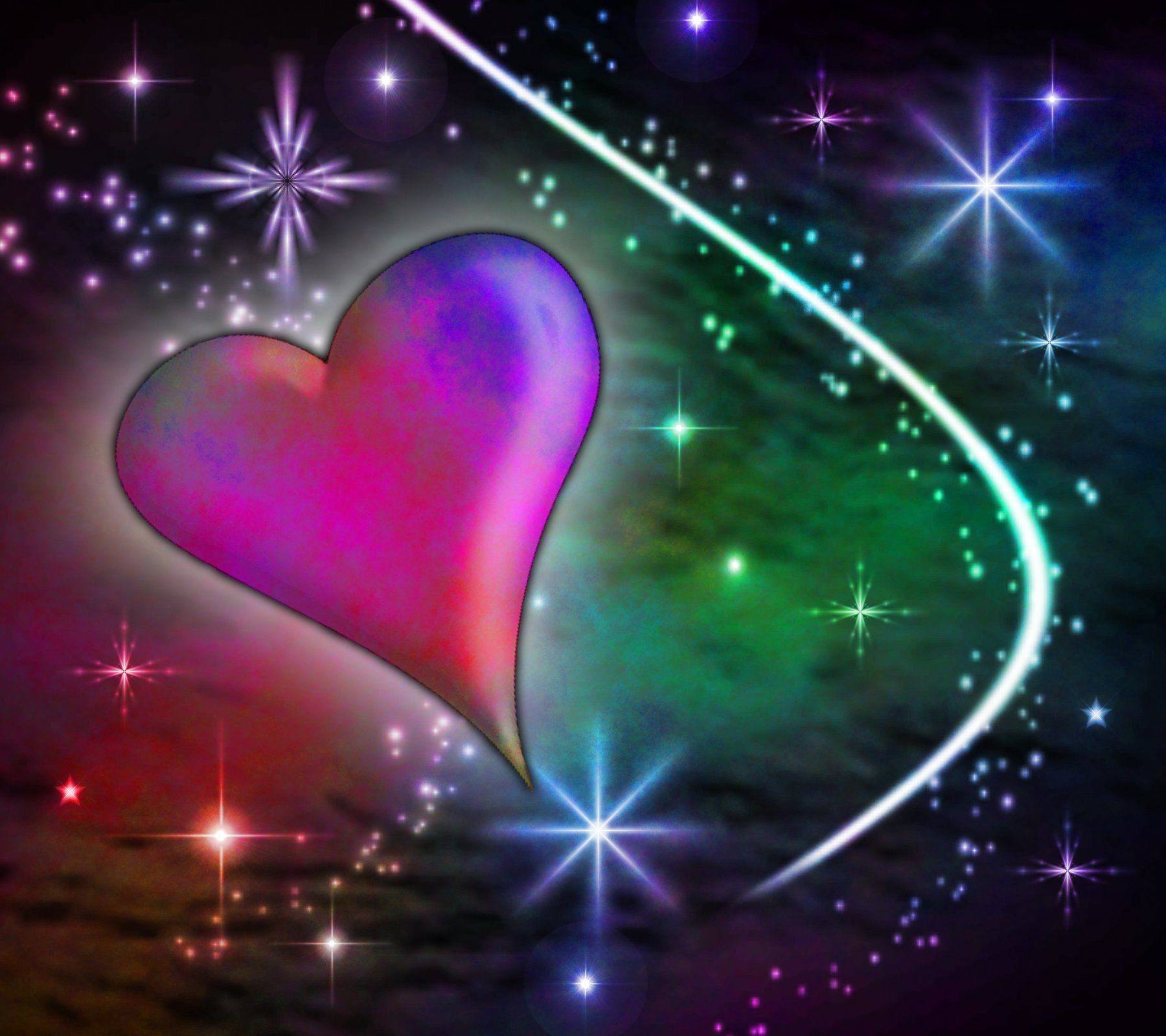 Multi Colored Heart With Plasma Stars Background 1800x1600 ...