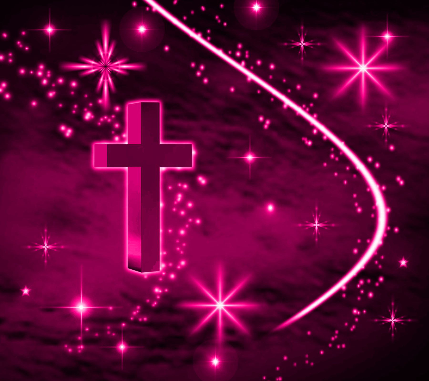 Pink Cross With Stars Background 1800x1600 Background