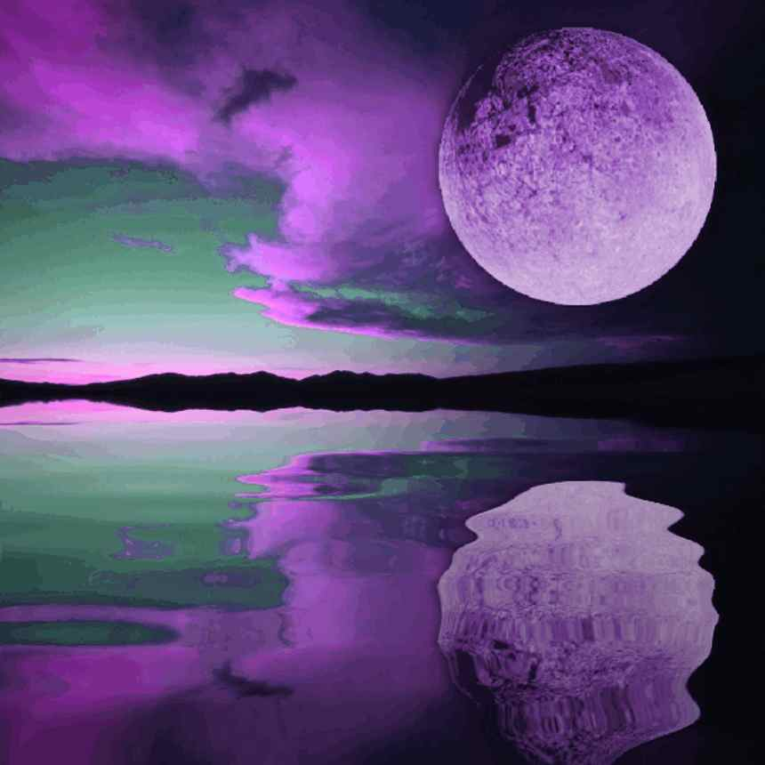 Background Wallpaper Image: Purple Moon Sunset