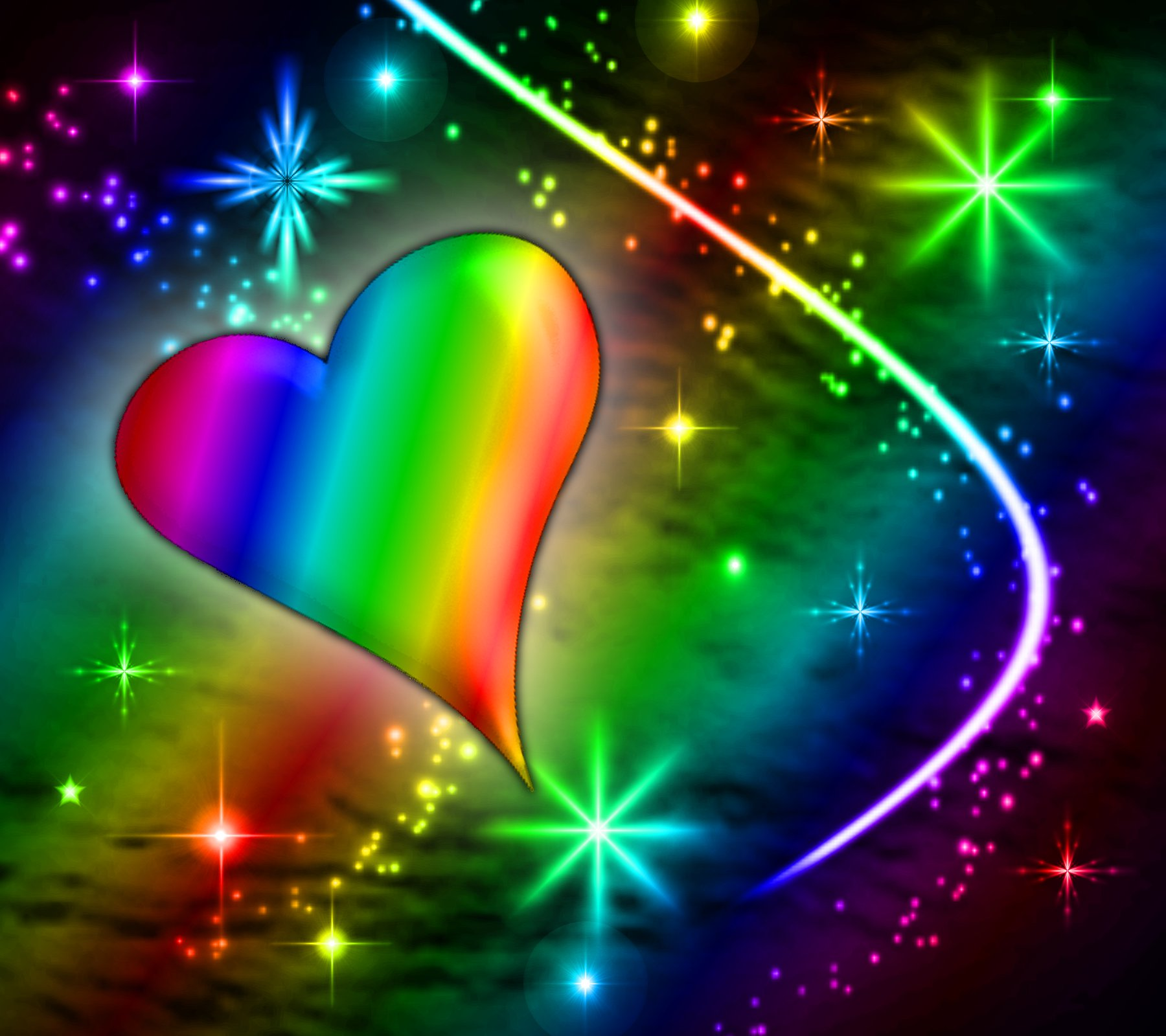 Rainbow Heart With Plasma Stars Background 1800x1600 ...