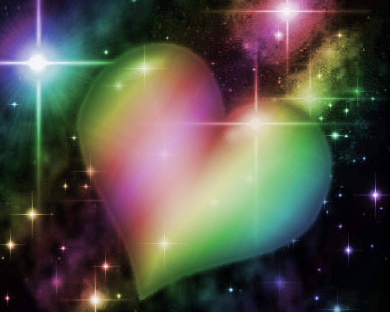 Background wallpaper image rainbow heart with starry background