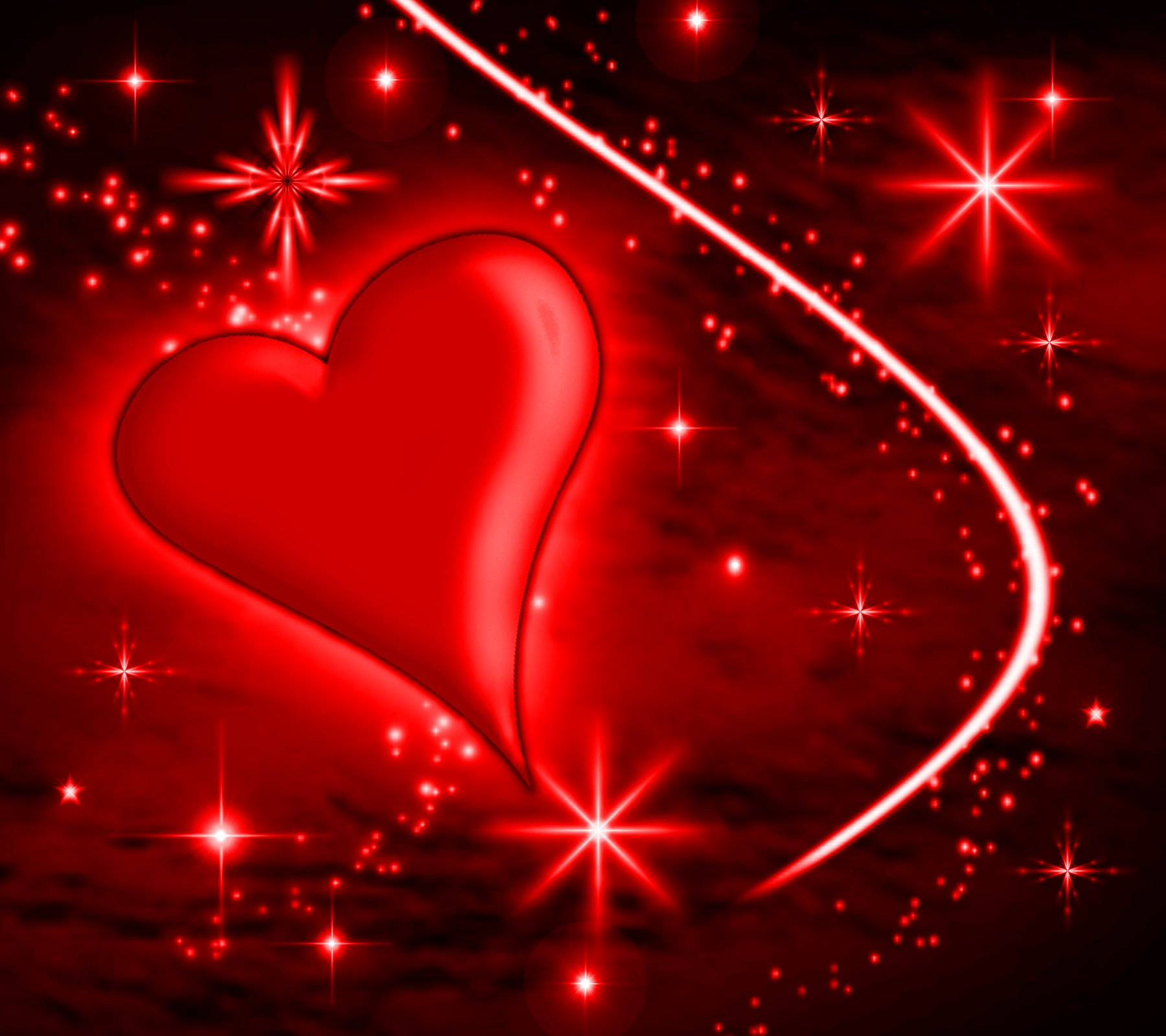 Red Heart With Plasma Stars Background 1800x1600