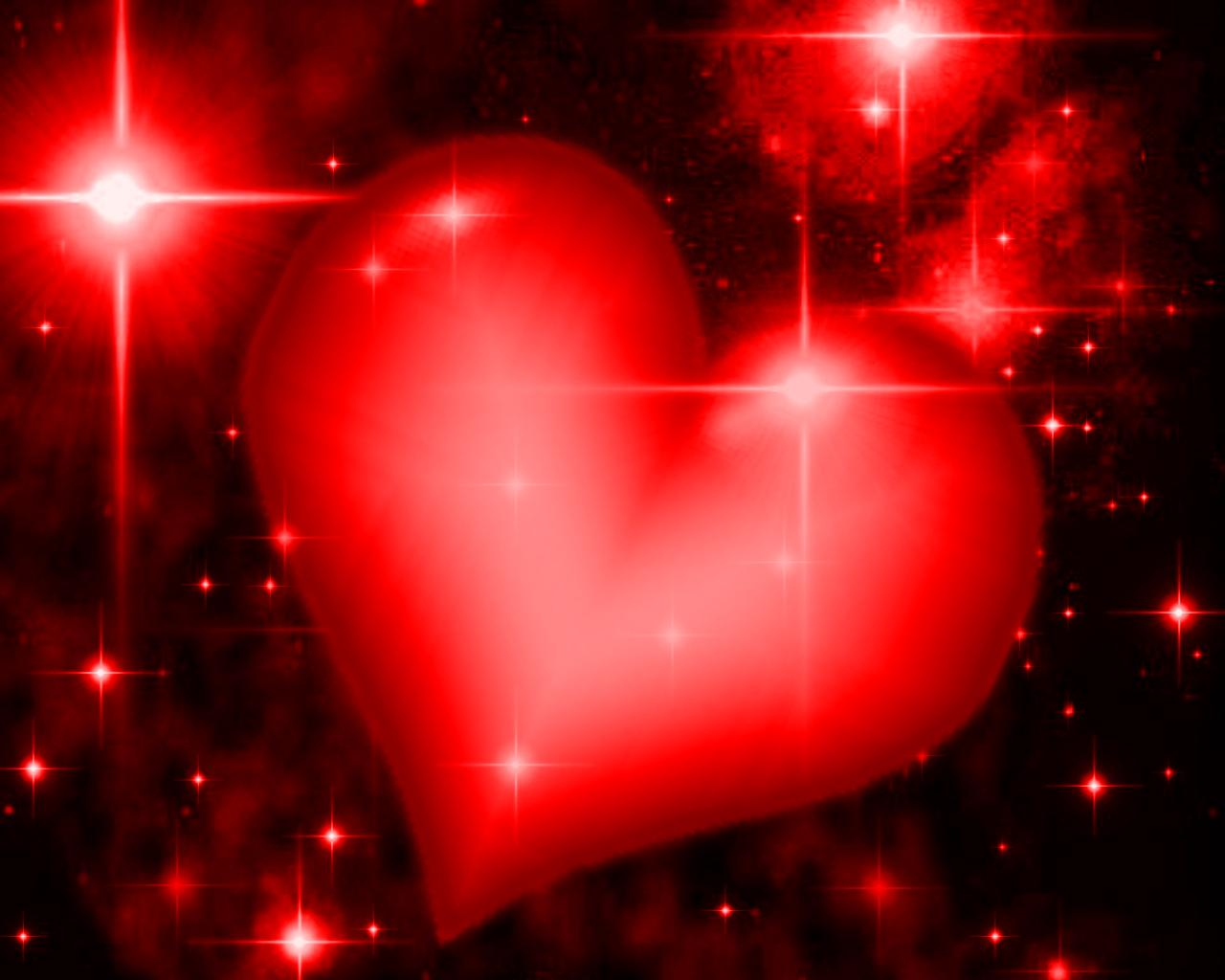 Background Wallpaper Image: Red Heart With Starry Background