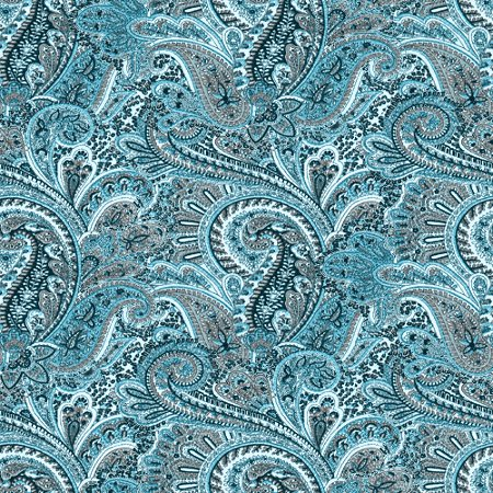Teal Paisley Pattern Background Seamless Background Image