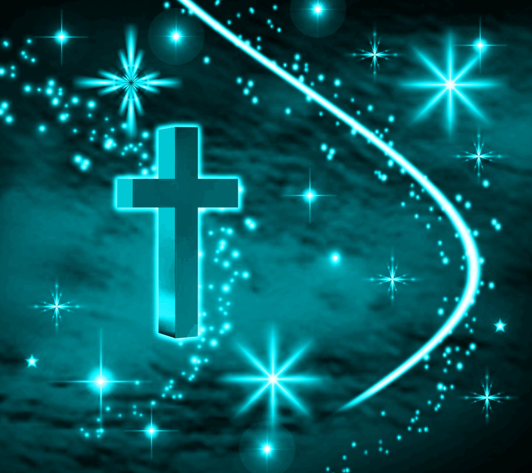 Cross Wallpapers Free: Turquoise Cross With Stars Background 1800x1600 Background