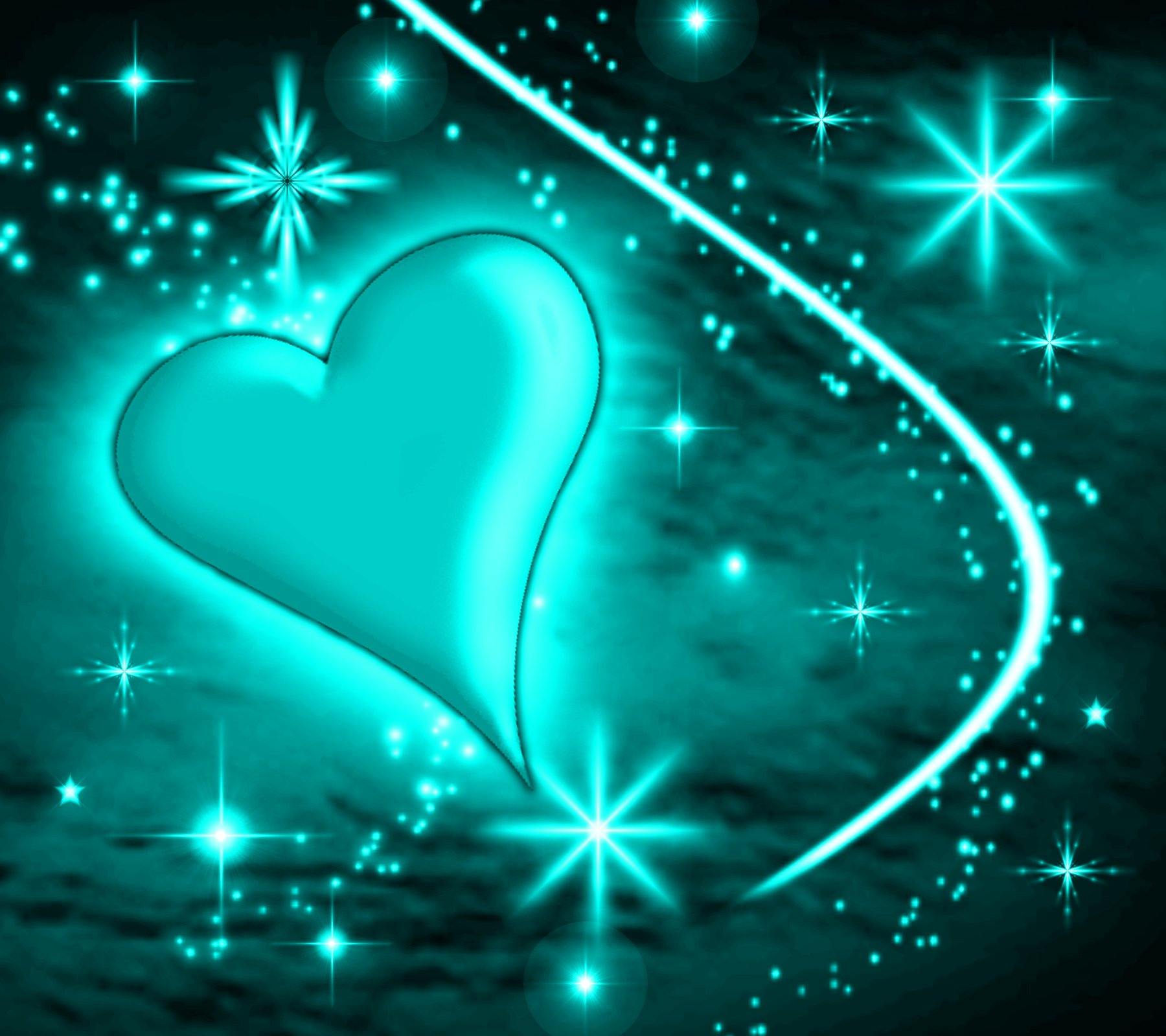 Turquoise Heart With Plasma Stars Background 1800x1600